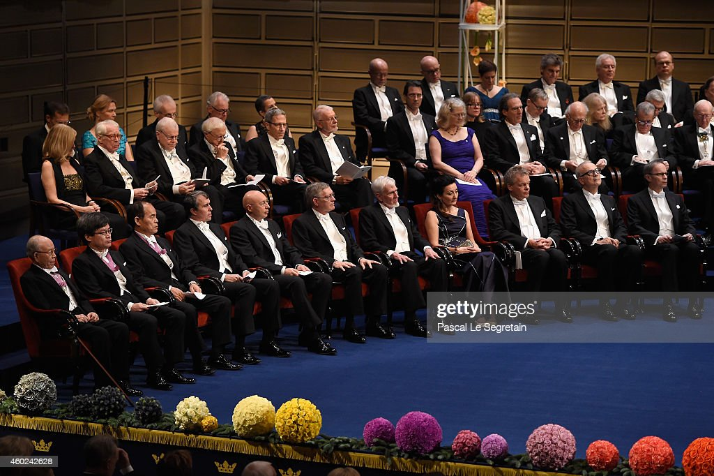 The laureates of the Nobel Prize 2014 seen on stage at the Nobel Prize Awards Ceremony at Concert Hall on December 10, 2014 in Stockholm, Sweden.