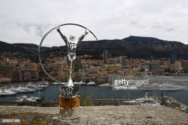 The Laureus World Sports Awards trophy stands by the Monaco harbour prior to the 2017 Laureus World Sports Awards on February 13 2017 in Monaco Monaco