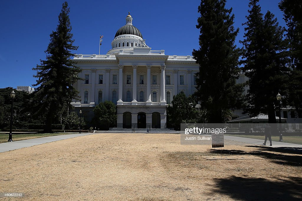 The lawn in front of the California State Capitol is seen dead on June 18 2014 in Sacramento California As the California drought conitnues the...