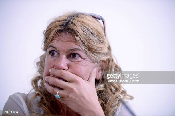The lawyer Alessandra Ballerini during a press conference at the Foreign Press association headquarter in Rome after the release by Turkish...