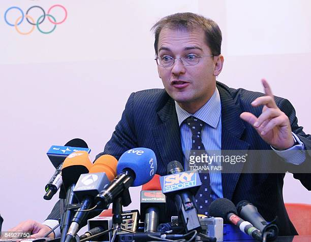The lawyer for Spanish cyclist Alejandro Valverde Federico Cecconi speaks at a press conference at the Olympic stadium in Rome after an audience with...