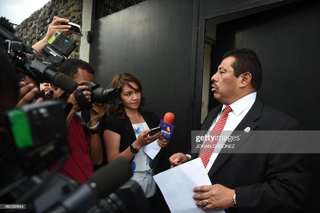 The lawyer of former Guatemalan dictator Jose Efrain Rios Montt Jaime Hernandez speaks with journalists after obtaining the legal protection that...