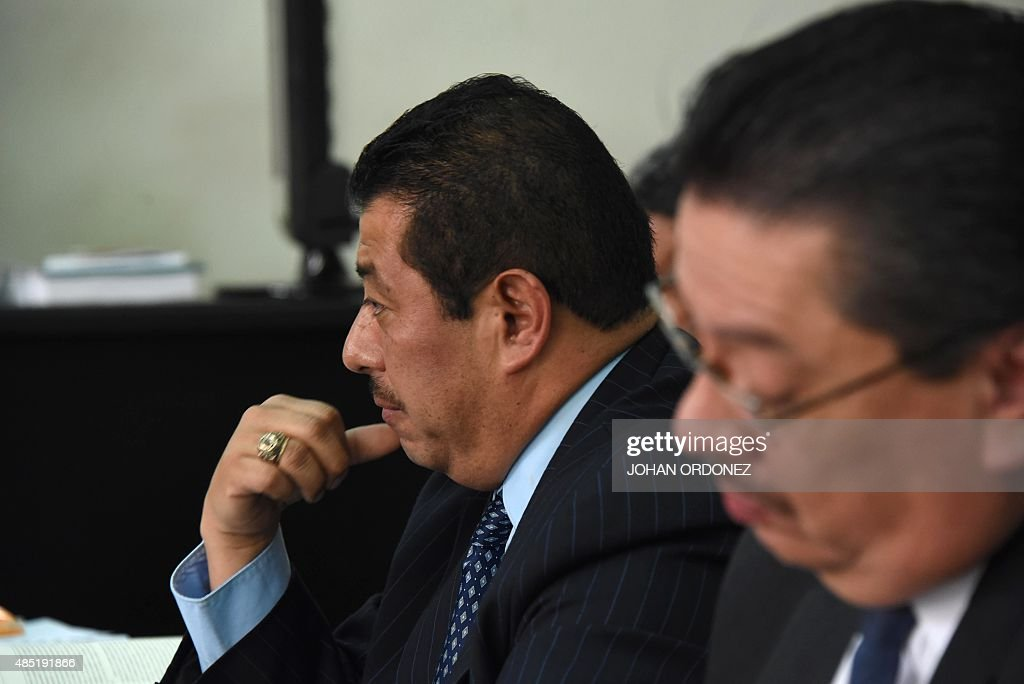 The lawyer of former Guatemalan dictator Jose Efrain Rios Montt Jaime Hernandez gestures during a hearing in the court room in Guatemala City on...
