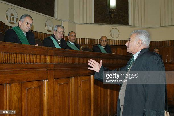 The lawyer of jailed EgyptianAmerican civil rights activist Saad Eddin Ibrahim delivers his case to Egypt's highest appeals court December 3 2002 in...