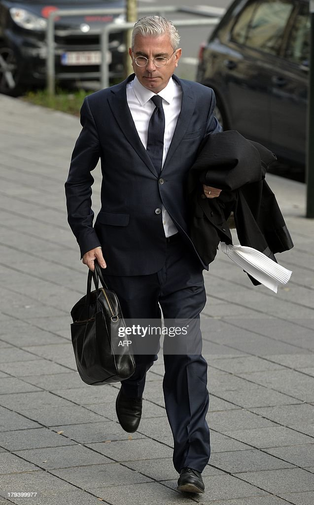 The lawyer representing Belgian sculptor Delphine Boel, Alain De Jonge, arrives on September 3, 2013 at the Court of First Instance in Brussels for the case opposing his client to members of the royal family. Boel has gone to court to win official recognition as the natural daughter of former Belgian King Albert II. Boel, 45, has filed a suit requiring the former king, his son, Belgian King Philippe, and his daughter Princesse Astrid to appear in a Brussels court. Boel wants to get the court to order a DNA test so as to establish her relationship with the former king.