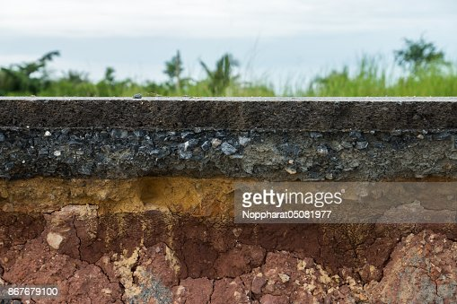 The layer of asphalt road with soil and rock. : Stock Photo