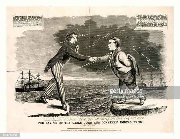 John And Jonathan Joining Hands 1858 A Crude But Engaging Picture Celebrating The Goodwill Between Great Britain And The United States Generated By...