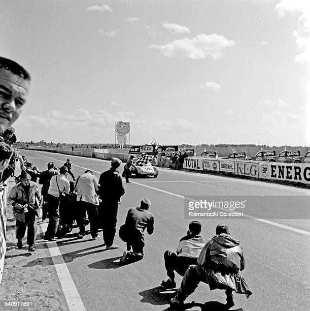 The Le Mans 24 Hours Le Mans July 2829 1956 The fifth place Porsche 550 first in the 1500cc class of Richard von Frankenberg and Wolfgang von Trips...