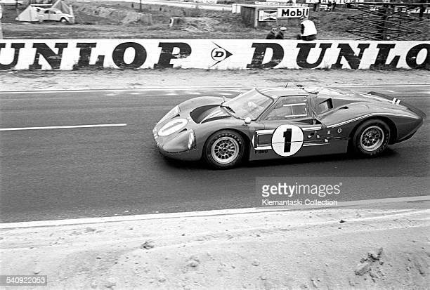 The Le Mans 24 Hours Le Mans June 1011 1967 The winning Ford GT40 Mk IV leaving Mulsanne It was driven by Dan Gurney and A J Foyt