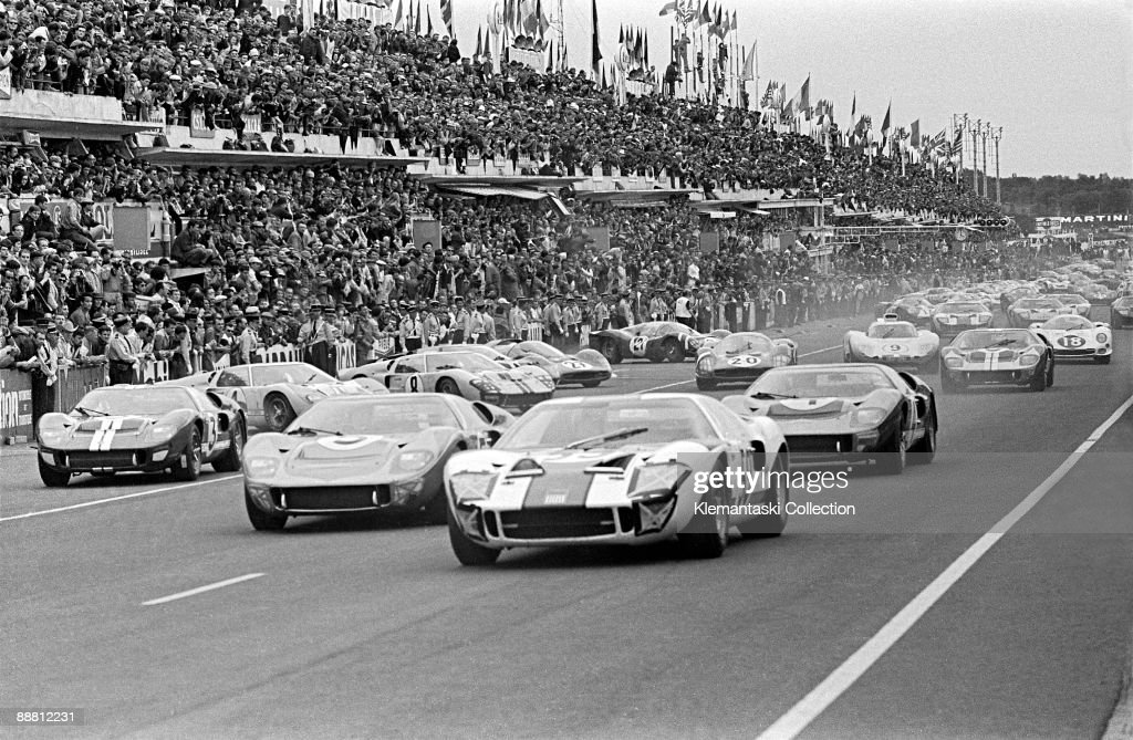 The Le Mans 24 Hours Le Mans June 1819 1966 The start of the race with the Ford GT40�s in front The leading Ford is the Skip Scott/Peter Revson car...