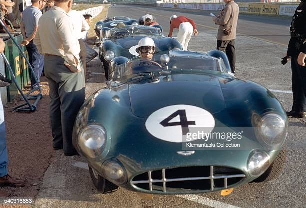 The Le Mans 24 Hours Le Mans June 2021 1959 During practice Stirling Moss waits in the Aston Martin DBR1 which he will drive with Jack Fairman