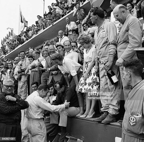 The Le Mans 24 Hours Le Mans June 2021 1959 The Aston pits just before the finish From the far left can be seen reserve driver Henry Taylor David...