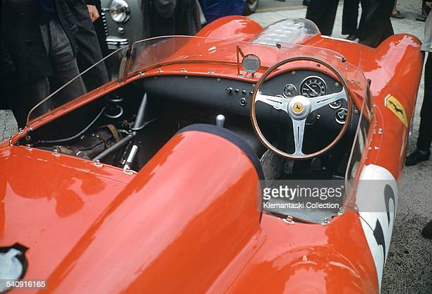 The Le Mans 24 Hours Le Mans June 2021 1959 The cockpit of the Ferrari 250TR/59 which was driven by Jean Behra and Dan Gurney They had to retire in...