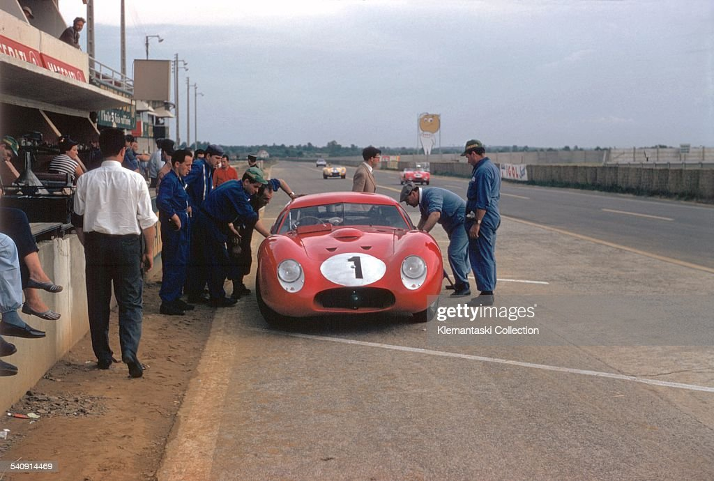 The Le Mans 24 Hours; Le Mans, June 22-23, 1957. Stirling Moss about to go off on a practice lap in the Zagato-bodied Maserati 450S, especially designed for Le Mans. Moss had asked Frank Costin to design this coupé, but the body builders at Zagato had got wrong.