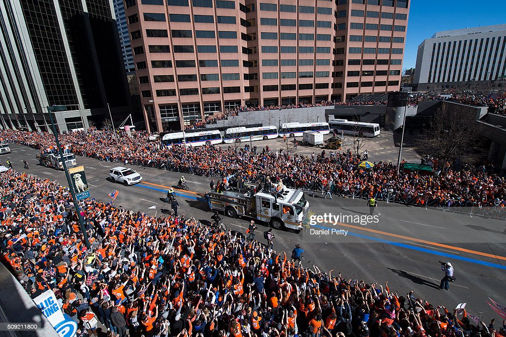 The lead firetruck carrying Peyton Manning processes down Broadway during the Denver Broncos Super Bowl parade on February 9, 2016, in Denver, Colorado.