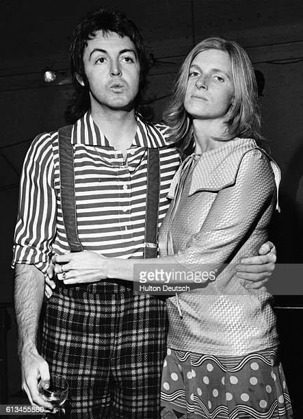 The lead singer of The Beatles Paul McCartney with his wife Linda They were married in 1969