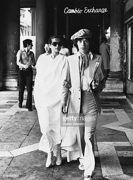 The lead singer of The Rolling Stones Mick Jagger with his wife Bianca during their honeymoon in Italy