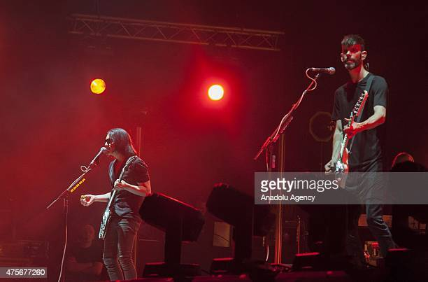 The lead singer of the UK band Placebo Brian Molko performs on the stage during the 14th edition of the Mawazine International music festival in...