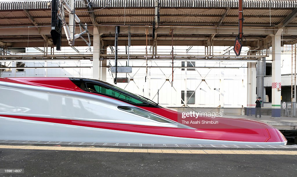 The lead vehicle of the new 'E6' Type Akita Shinkansen 'Super Komachi' is seen at the platform during a press preview at JR Omiya Station on January 21, 2013 in Saitama, Japan. The carriage will be launched on March 16, run at 320 kilometers per hour at the highest speed.