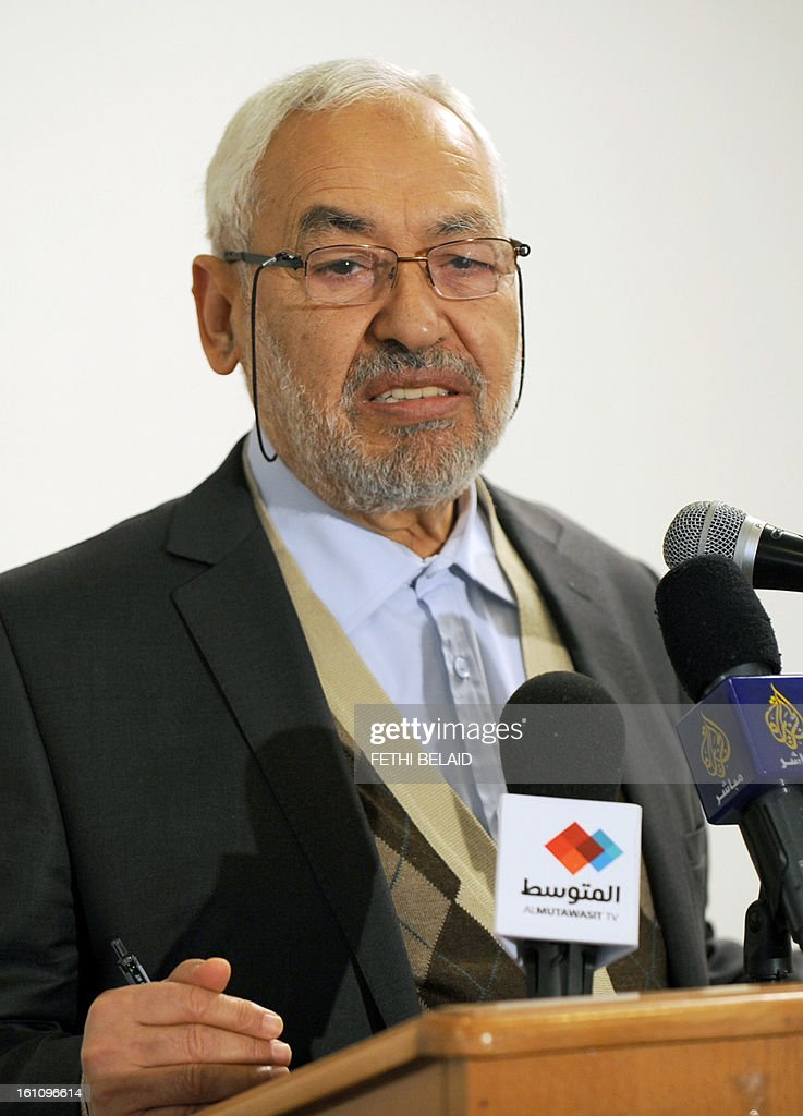 The leader and founder of the ruling Ennahda Islamic party, Rached Ghannouchi speaks during a press conference at the Higher Institute of Islamic Civilization on February 9, 2013 in Tunis. Ghannouchi has condemned the assassination of opposition leader Chokri Belaid and accused people who are against the Jasmine Revolution.