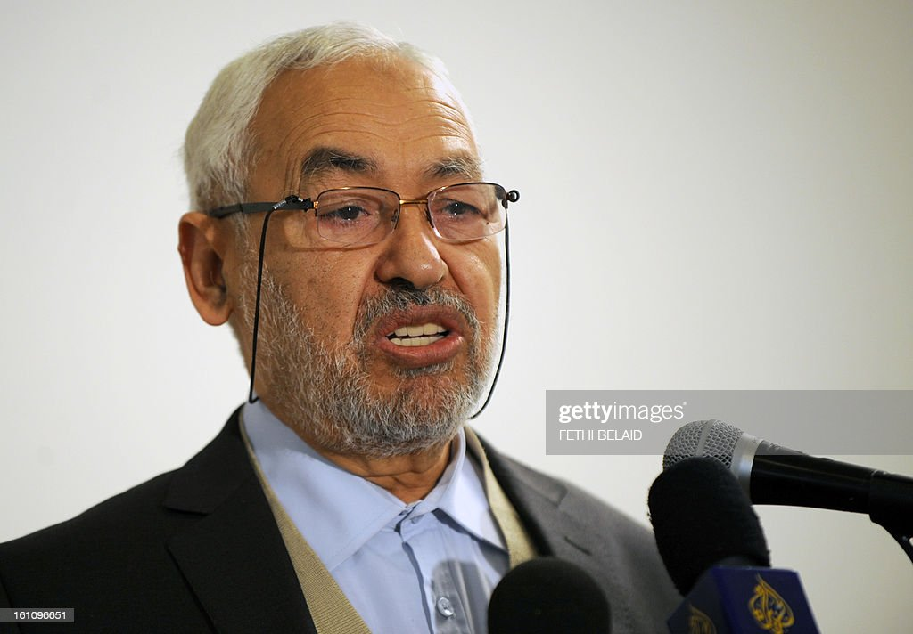 The leader and founder of the ruling Ennahda Islamic party, Rached Ghannouchi speaks during a press conference at the Higher Institute of Islamic Civilization on February 9, 2013 in Tunis. Ghannouchi has condemned the assassination of opposition leader Chokri Belaid and accused people who are against the Jasmine Revolution. AFP PHOTO / FETHI BELAID