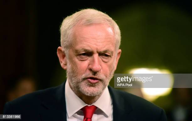 The leader of Britain's opposition Labour Party Jeremy Corbyn awaits a speech from Spain's King Felipe at the Palace of Westminster on July 12 2017...
