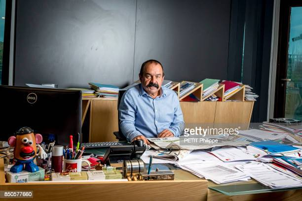 the leader of CGT Union Philippe Martinez is photographed by Paris Match in his office on september 04 2017 in Montreuil France