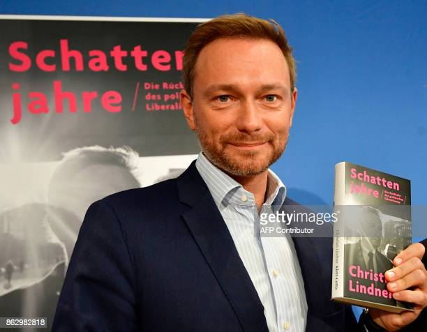 The leader of Germany's free democratic FDP party Christian Lindner presents his latest book 'Schattenjahre' during a news conference in Berlin...