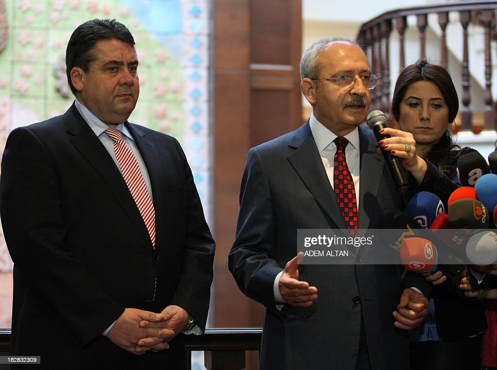 The leader of Germany's Social Democratic party (SPD) Sigmar Gabriel (L) and Turkey's main opposition Republican People's Party (CHP) leader Kemal Kilicdaroglu address the media after their meeting in Ankara on February 28, 2013 .