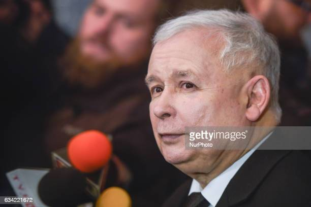 The Leader of PiS Jaroslaw Kaczynski speaks to media at the Bristol Hotel after he met the Chancellor of Germany Angela Merkel during her visit to...