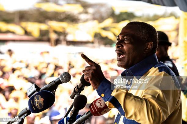 The leader of the Angolan opposition party CASACE Abel Chivukuvuku gestures as he speaks during a rally in Luanda on August 20 three days ahead of...