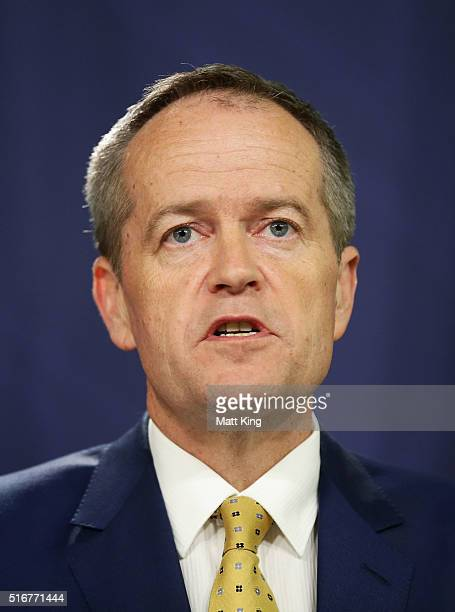 The Leader of the Australian Labor Party Bill Shorten addresses the media on March 21 2016 in Sydney Australia Prime Minister Malcolm Turnbull...