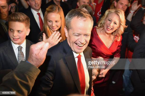 The leader of the Australian Labor Party Bill Shorten is congratualted by party supporters as he arrives alongside his wife Chloe to give a speech...