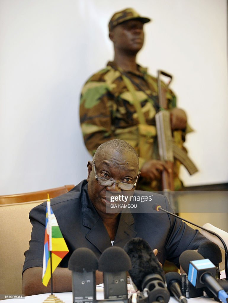 The leader of the Central African rebel coalition Seleka, Michel Djotodia speaks during a press conference on March 29, 2013 in Bangui. The Red Cross in the Central African Republic said today it had found some 78 bodies in the streets of the capital Bangui since it fell to rebels last weekend, as jittery residents waited to hear about a new government. Drinking water and electricity were cut off in parts of Bangui, whose seizure on March 24, 2013 by the Seleka rebel coalition, led by strongman Michel Djotodia, forced president Francois Bozize to flee and sparked a rampage by groups of armed looters.