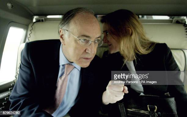 The leader of the Conservative party Michael Howard listens to his political Secretary Rachel Whetstone as they land in Norwich on the last day of...