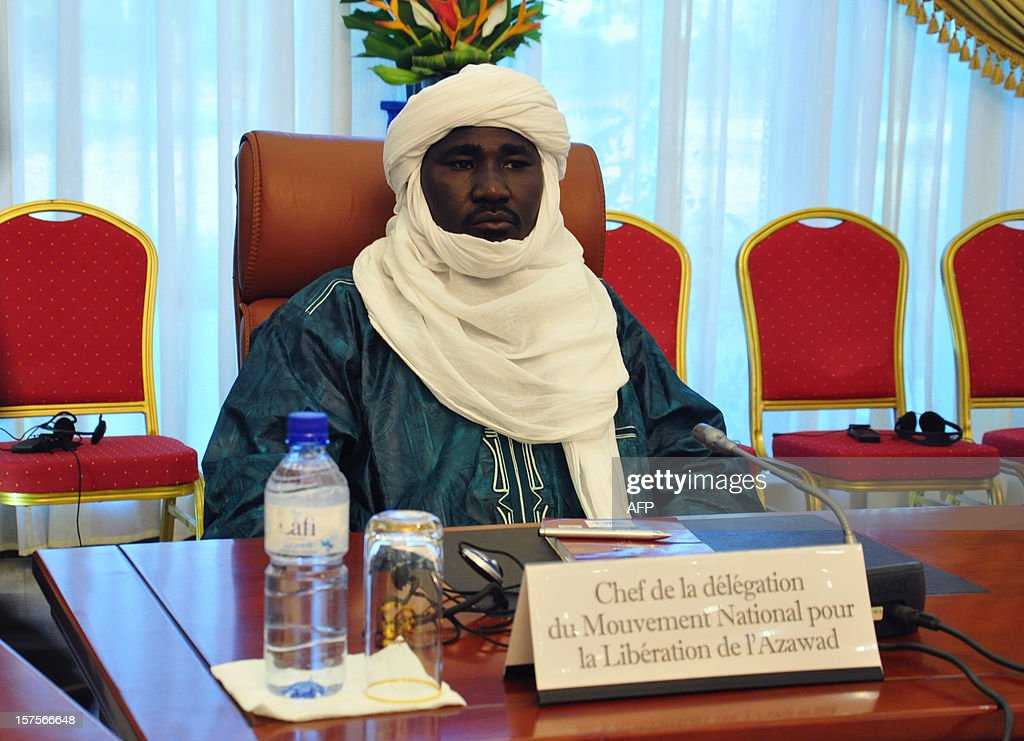 The leader of the delegation representing the Azawad National Liberation Movement (MNLA) Tuareg rebellion, Mahamadou Dieri Maiga, attends a mediation meeting with members of the Malian government and the islamist Ansar Dine group, hosted by the Burkina Faso President, in Ouagadougou, on December 4, 2012. Delegations from the Malian government and two rebel groups from the country's vast north held their first talks Tuesday to seek an end to the crisis that has split the west African the country in two. Burkina Faso President Blaise Compaore, west Africa's top mediator for the crisis, hosted the meeting in Ouagadougou, and brought together a Malian government delegation with representatives of Ansar Dine (Defenders of the Faith), one of the Al-Qaeda-linked Islamist groups occupying the north, and the Azawad National Liberation Movement (MNLA), which is fighting for an independent homeland for the Tuareg people.