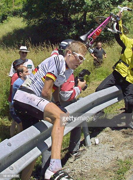 the leader of the Deutsche Telekom team German Jan Ullrich falls during the 13th stage of 88th Tour de France between Foix and SaintLarySoulan 21...