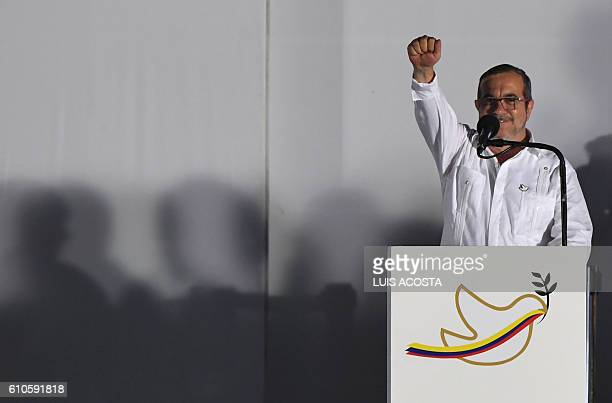 The leader of the FARC Rodrigo Londono better known by his nom de guerre Timoleon 'Timochenko' Jimenez delivers a speech after signing the historic...