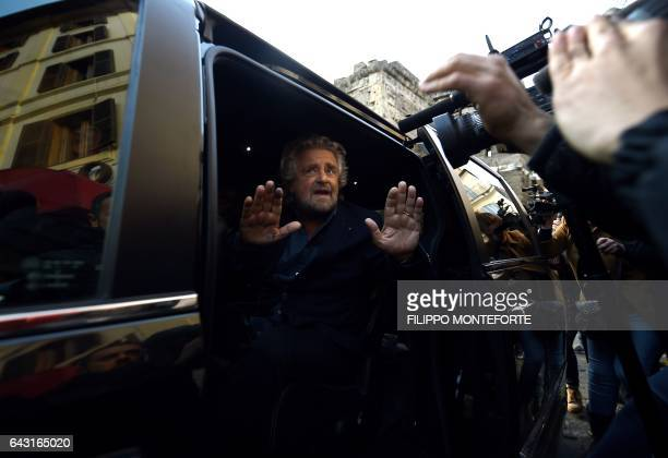 The leader of the Five Star Movement Beppe Grillo leaves his hotel before a meeting with Rome's mayor Virginia Raggi on February 20 2017 in Rome /...