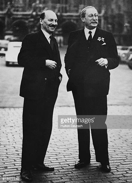 The leader of the French socialists Leon Blum meets with Clement Attlee the leader of Britain's Labour Party 1939