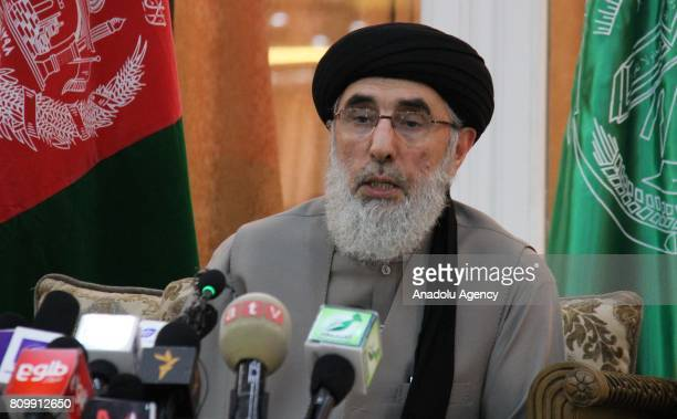 The leader of the Hezbe Islami party Gulbuddin Hekmatyar holds a press conference in Kabul Afghanistan on July 6 2017