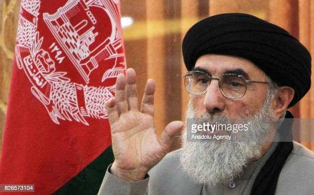 The leader of the Hezbe Islami party Gulbuddin Hekmatyar holds a first press conference with Foreigners media in Kabul Afghanistan on August 5 2017