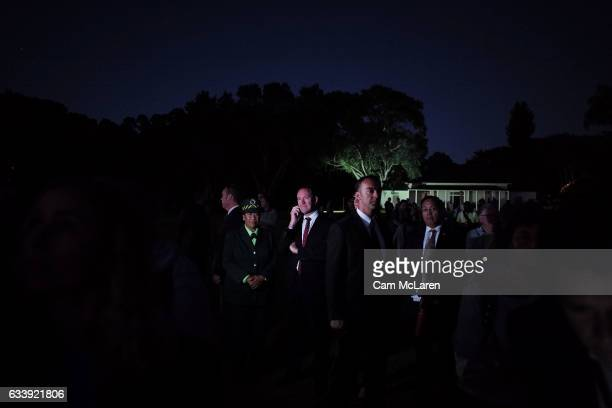 The Leader of the Labour Party Andrew Little takes a phone call on February 6 2017 in Waitangi New Zealand The Waitangi Day national holiday...