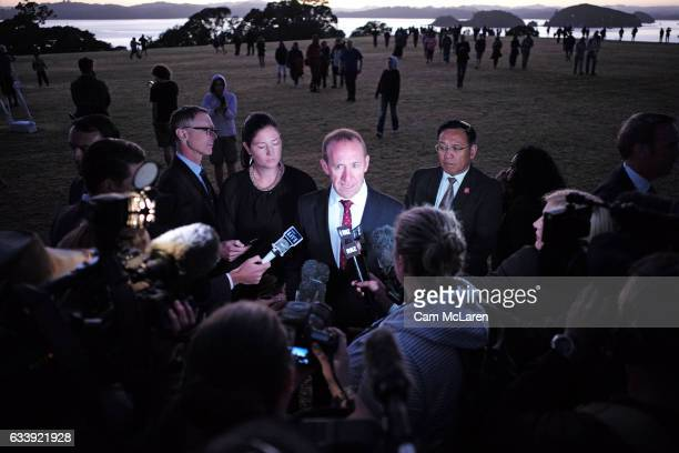 The Leader of the Labour Party Andrew Little takes a press conference at the Upper Treaty Grounds on February 6 2017 in Waitangi New Zealand The...