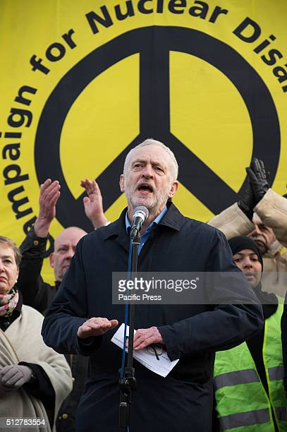 The leader of the labour party Jeremy Corbyn addressing the crowd during the rally at the end of the march Ten of thousands of protesters march...