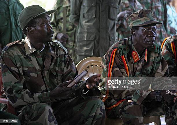 The leader of the Lord's Resistance Army Joseph Kony and his deputy Vincent Otti sit inside a tent 12 November at RiKwamba in Southern Sudan during a...