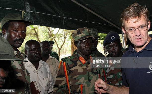 The leader of the Lord's Resistance Army Joseph Kony and his deputy Vincent Otti discuss with UN humanitarian chief Jan Egeland 12 November at...