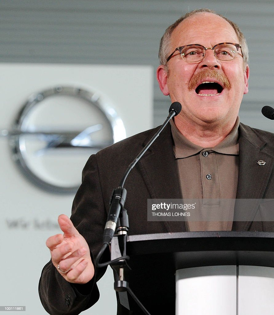 The leader of the Opel works council Klaus Franz addresses workers at the Opel plant in the central German city of Ruesselsheim on May 21, 2010. General Motors' European unit Opel and unions have agreed on terms of a long-awaited restructuring plan, knocking the ball back into Berlin's court, with GM hoping for financial guarantees in return.