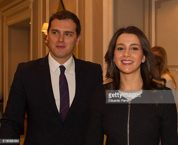 The leader of the political party Ciudadanos in Catalonia Ines Arrimadas and the national leader of Ciudadanos Albert Rivera participate in an...