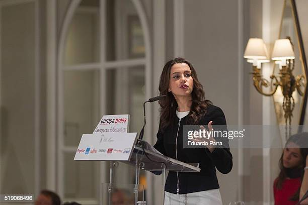 The leader of the political party Ciudadanos in Catalonia Ines Arrimadas participates in an informative breakfast organized by the news agency Europa...